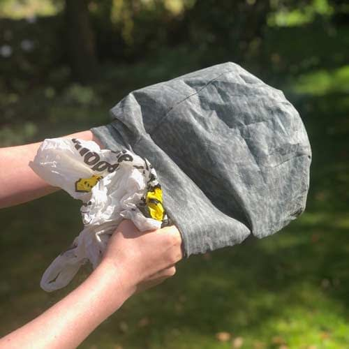 Now fill the carrier bag with old supermarket carrier bags to give Waspinator its shape